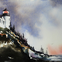 Lighthouse View, Original Watercolour Painting.