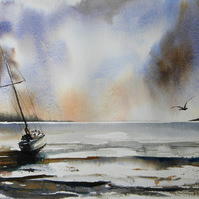 Waiting for the tide, Original Watercolour Painting.