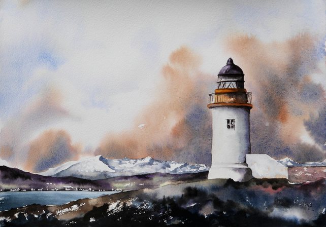 Holy Island Inner Lighthouse, Arran. Original Watercolour Painting.