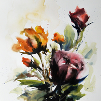 Roses, Original Watercolour Painting.