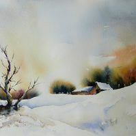 Tree in Snow, Original Watercolour Painting.