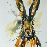 Mr Hare, Original Watercolour Painting.