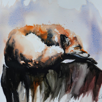 Sleeping Fox, Original Watercolour Painting.