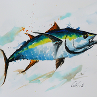 Tuna, Original Watercolour Painting.