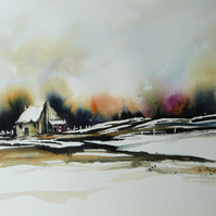 Cottage in Snow, Original Watercolour Painting.