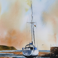 Boat on Abersoch Beach, Original Watercolour Painting.