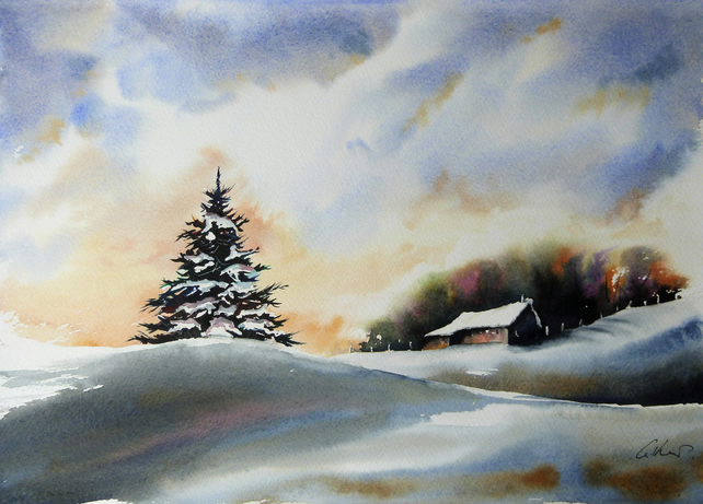 Christmas Tree, Original Watercolour Painting.