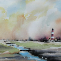 Where Land meets Sea, Original Watercolour Painting.