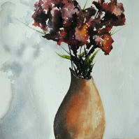 Flowers in vase, Original Watercolour Painting.