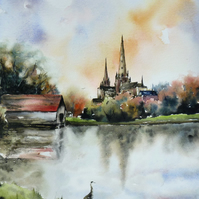 Lichfield Cathedral, Original Watercolour Painting.