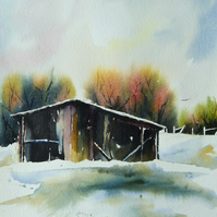 Old Barn in Snow, Original Watercolour Painting.