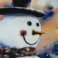 Snowman, Original Watercolour Painting.