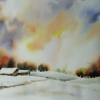 Winter on the Farm, Original Watercolour Painting.