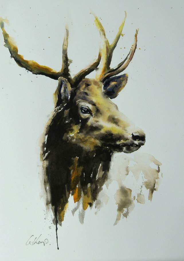 Stag, Original Watercolour Painting.
