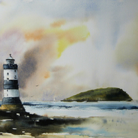 Trwyn Du Lighthouse, Original Watercolour Painting.