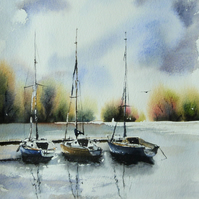 Three Sailboats, Original Watercolour Painting.