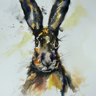 The Enigmatic Hare, Original Watercolour Painting.