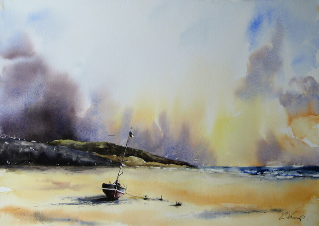 Boat on a Beach, Original Watercolour Painting.