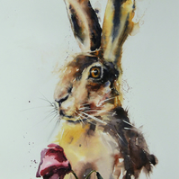 The Hare, Original Watercolour Painting.