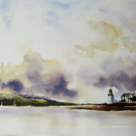 Corran Lighthouse, Original Watercolour Painting.