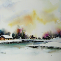 Frozen River, Original Watercolour Painting.