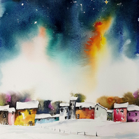 Starry, Starry Night, Original Watercolour Painting.