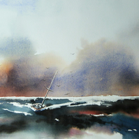 Low Tide, Original Watercolour Painting.