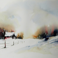 The Red Barn, Original Watercolour Painting.