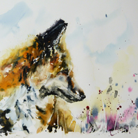 The Fox, Original Watercolour Painting.