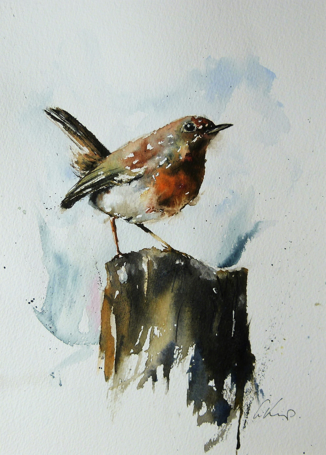 Robin on a post, Original Watercolour Painting.