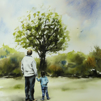 Papa & Jack Consider a Tree. Commission Painting.