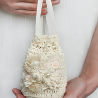Bridal hand crochet ivory purse. Bridal handmade  bag