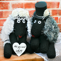 Wedding centrepiece, Hand knitted bride&groom, Mr&Mrs table decor