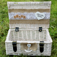 White Wedding Card Box, Country wedding personalised basket