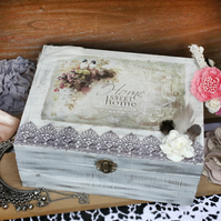 Handmade decoupaged wood box