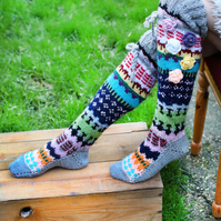 Thigh high hand knitted socks, Over the knee socks