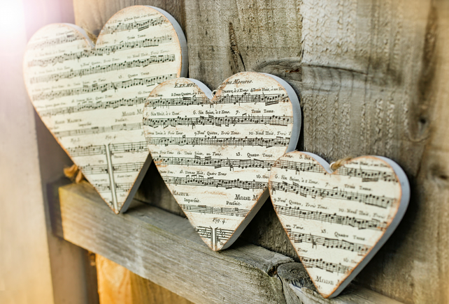 Set of three Valentines wooden hearts