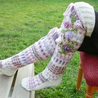 Pastel Thigh High Wool Socks, Hand knitted over the knee socks