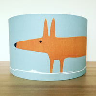 Handmade Lampshade, Featuring by Mr fox, Scion. sky, tangerine & Chalk colourway