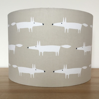 Handmade Lampshade, Featuring Little fox by Scion. Snow Fox.