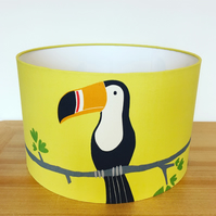 Handmade Lampshade Featuring by Terry Toucan by Scion. Tangerine charcoal, maize