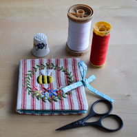 Red Ticking Needle book in 'Belle' design - embroidered bee and flowers.