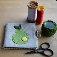 Linen Needle Book - appliqued green felt pear with yellow spotty button.