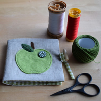 REDUCED Linen Needle Book - appliqued green felt apple with green spotty button.