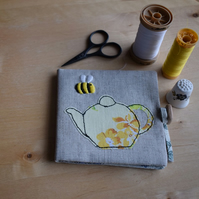Linen Needle book with embroidered bee and vintage teapot.