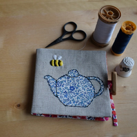 Linen Needle book with embroidered bee and Liberty teapot.