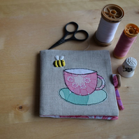 Linen Needle book with embroidered bee and vintage teacup and Saucer.