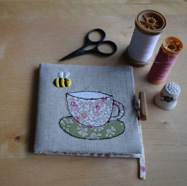 Linen Needle book with embroidered bee and Liberty teacup and Saucer.