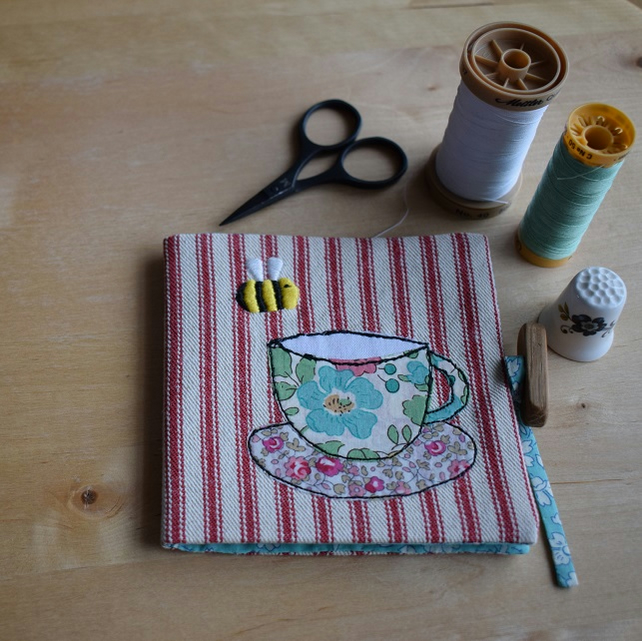 Red Ticking Needle book with embroidered bee and Liberty teacup and Saucer.