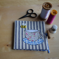 Blue Ticking Needle book with embroidered bee and Liberty teacup and Saucer.
